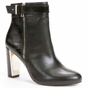 Ann Taylor Gold Accent Reptile Print Black Booties